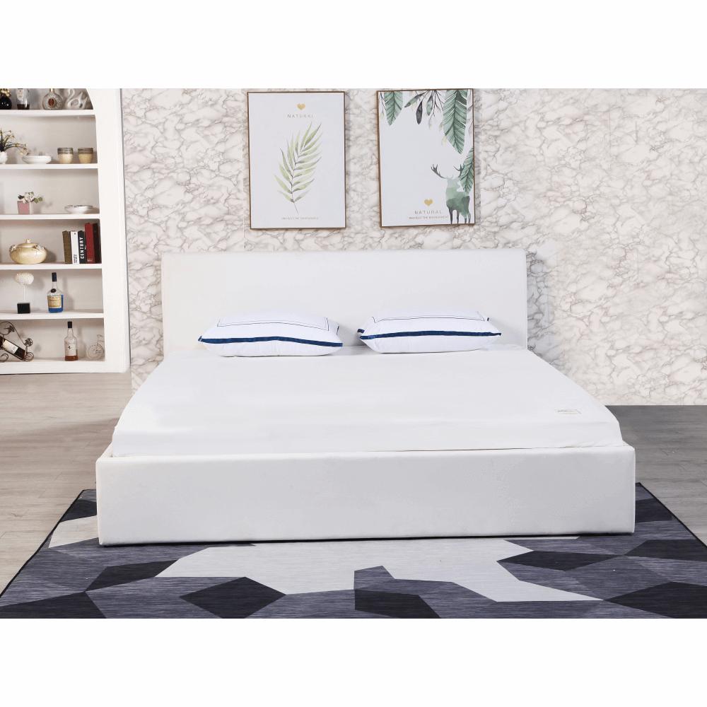 Manželská posteľ s úložným priestorom, biela, 160x200, KERALA